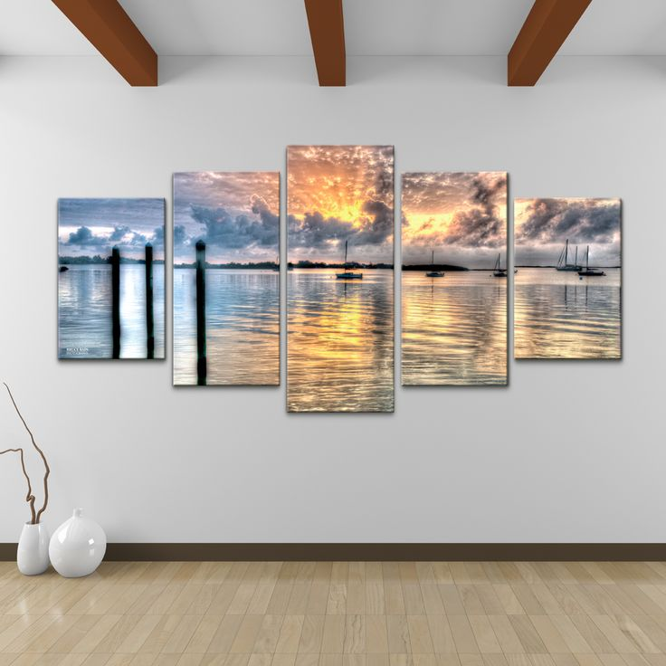 Turn A Large Wall Into An Art Gallery With This Five Piece Calm Waters Canvas By Bruce Bain Its Tranquil Blue Gold And Gray Color Scheme