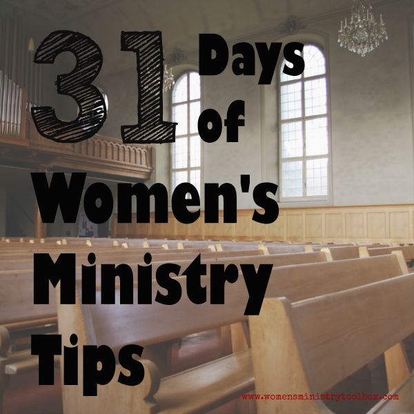 I am participating in the 31 day writing challenge issued by The Nester this October (2014). My goal is to give you a quick Women's Ministry tip every day in October. This is the page on which you'll find a link to all 31 Women's Ministry Tips. Please bookmark this page and visit often! You can also … … Continue reading →