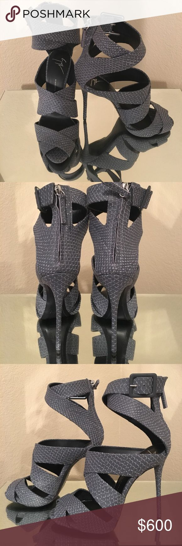 Giuseppe Zanotti Coline Printed Yard Jeans Heels Authentic grey Giuseppe heels. Size 38. Never worn. ACCEPTING OFFERS, but no lowballing or trades!  •Comes with original dust bag, care card, authenticity card & box.   •Slight scuffing on the bottom of right shoe, as shown in the last photo. Not visible when wearing.  •Retail at shopbop.com for $1115 Giuseppe Zanotti Shoes Heels