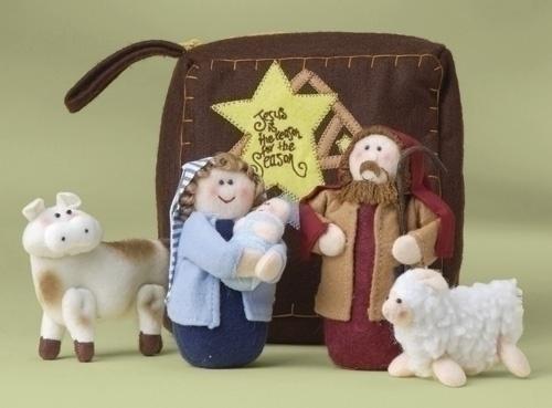 Pacote de 4 Inspirado figuras da natividade de pelúcia com saco de tecido 6-Piece Conjuntos