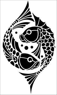 KOI  -Motif No 97 stencil from The Stencil Library ART DECO range. Buy stencils online. Stencil code DE348.