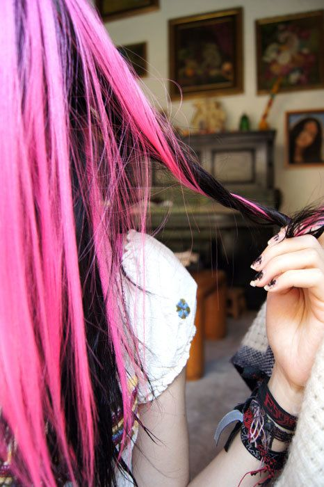Black and pink dyed hair! I love black and pink hair!!!