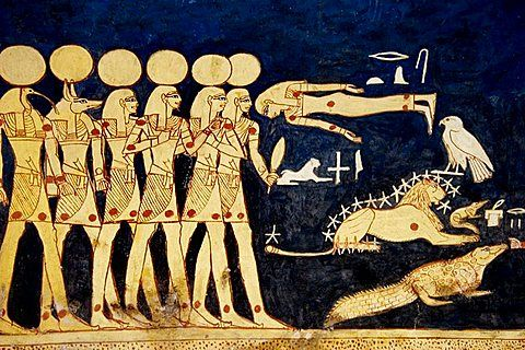 Mural paintings in the Tomb of Seti I, Valley of the Kings, Luxor West Bank, Egypt