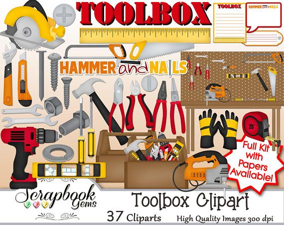 Toolbox Clipart 37 Png Clipart Files Instant Download Tool Etsy Tool Box Clip Art Construction Theme