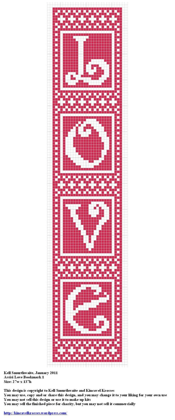 Love Bookmark 1 free cross stitch chart