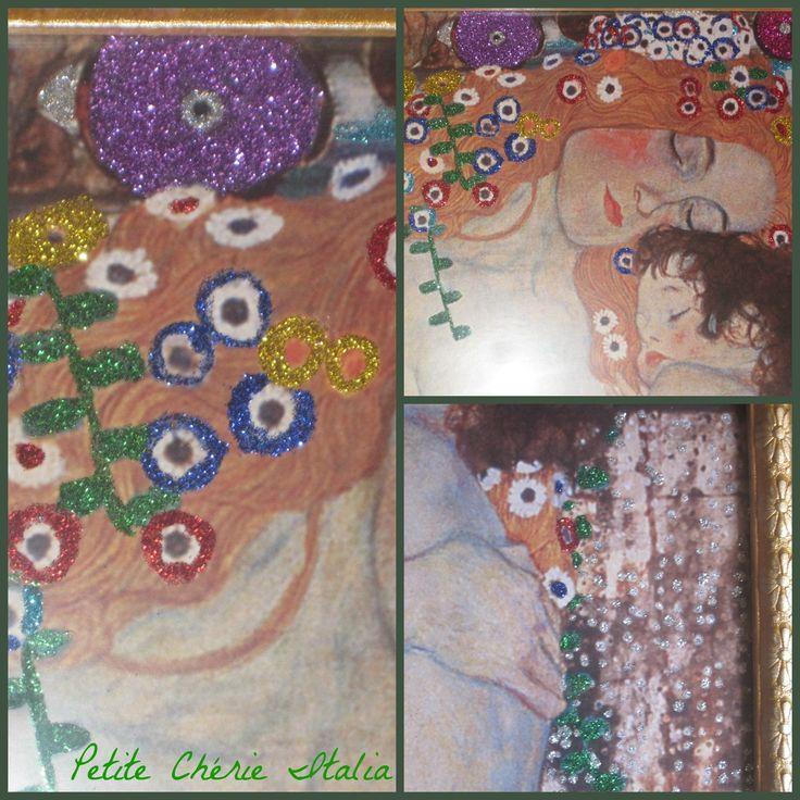 Stampe di quadri di Klimt personalizzate con Glitter. #DIY #glitter #oro #viola #blu #rosso #verde #argento #azzurro #madre #bambino