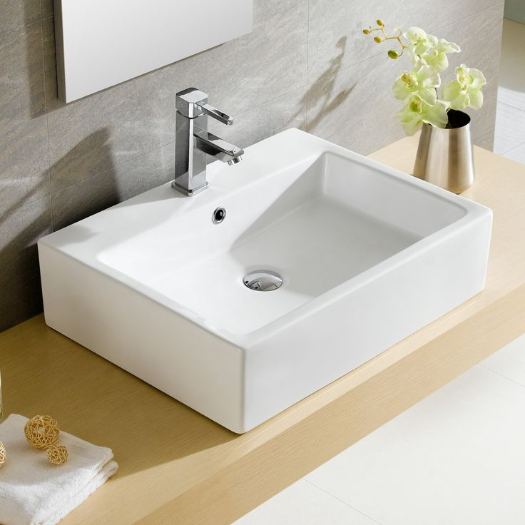 modern vitreous rectangular vessel bathroom sink with overflow more