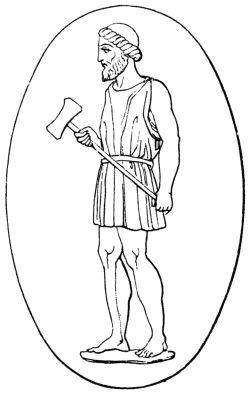 Illustration of Hephaestus. Taken from Dr. Vollmers Wörterbuch der Mythologie aller Völker, 1874 (Wikimedia)
