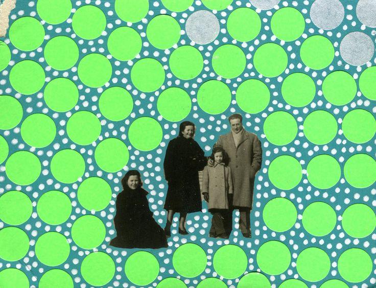 Collage Contemporaneo Su Foto Vintage Di Famiglia Manipolata Con Adesivi Neon E Penne