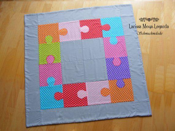 Baby Decke Bunt Puzzle 2 Kuscheldecke Krabbeldecke 90x90 Cm