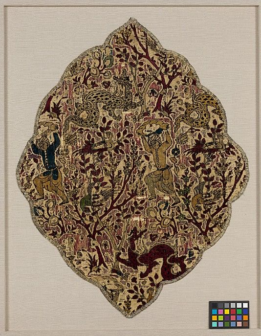 Textile Fragment  Object Name: Fragment Date: ca. 1540 Geography: Iran Medium: Silk; cut and voided velvet with continuous floats of flat metal thread Dimensions: Textile: L. 23 1/2 in. (59.7 cm) W. 18 3/16 in. (46.2 cm) Mount: L. 29 1/2 in. (74.9 cm) W. 24 in. (61 cm) Wt. 10 lbs. (4.5 kg)