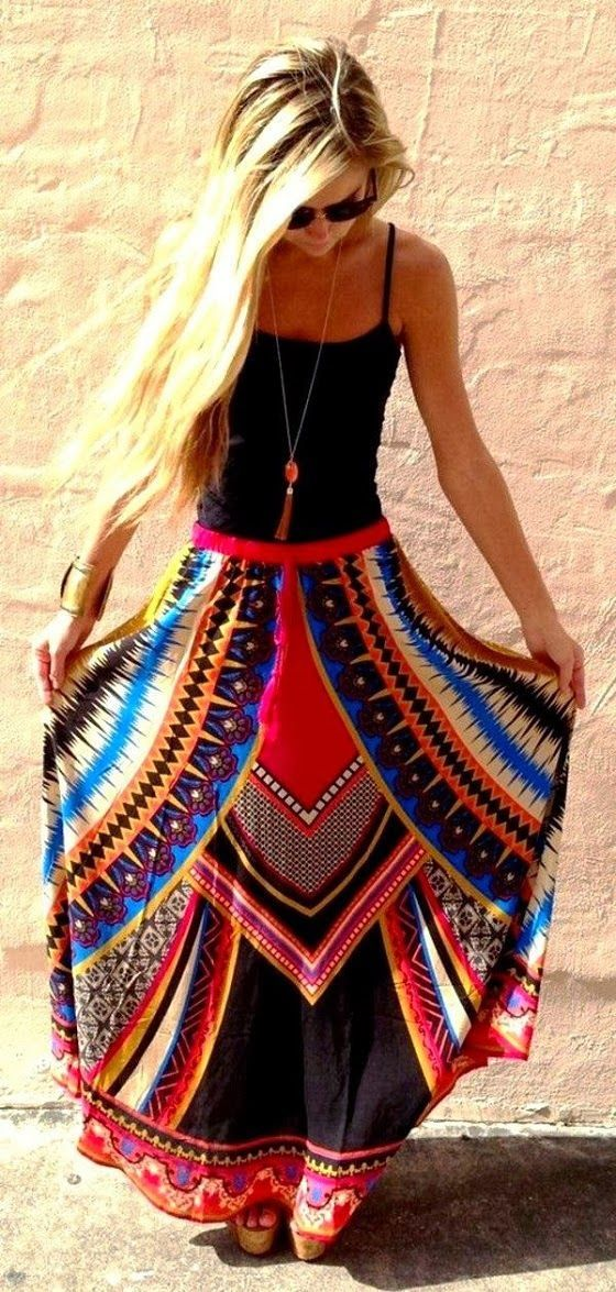 Tribal print long skirt and black top