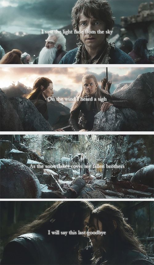 (gif set) ♪I saw the light fade from the sky / On the wind, I heard a sigh / As the snowflakes cover, my fallen brothers / I will say this last goodbye♪ ||| The Hobbit: The Battle of Five Armies [The Last Goodbye - Billy Boyd]