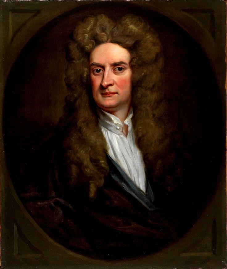 Dit is Isaac Newton. Hij is iemand die heel veel van wiskunde afweet. Hij heeft verschillende theorieën, een aantal daarvan zijn: actie-reactie en kracht en beweging. Hij heeft door te observeren en redeneren, de natuurwet opgesteld, dat is een algemene regel die in de natuur steeds terug komt zoals zwaartekracht.