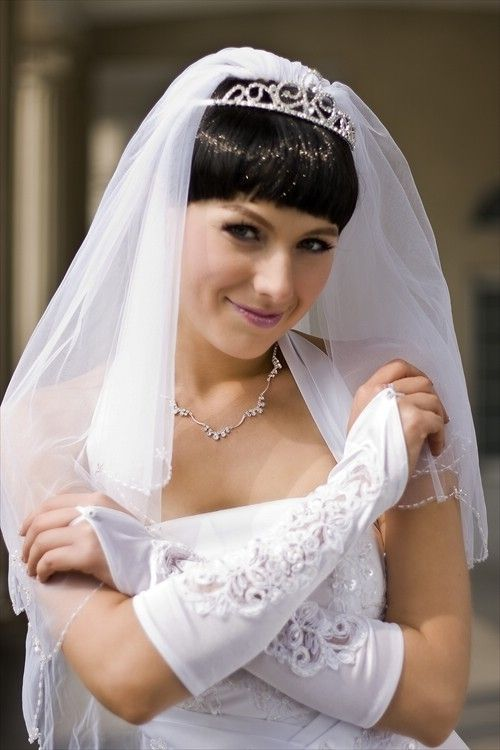 Bridal Veil Diamond (Off) White 2 Tiers Elbow Length Scallop Edge In Seed Beads  $43.49