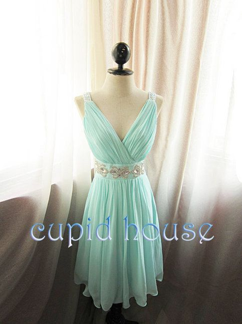 Cheap Short Mint Bead Bridesmaid Dress/Chiffon Vneck by CupidHouse, $89.00 @Caitlin Burton Burton Dwyer ??