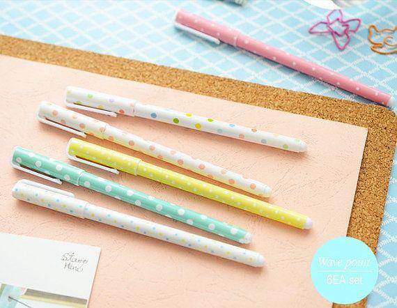 10% OFF punto onda penne-- Set di penne gel 6pcs per DIY scrapbook, pittura, disegno, scrittura, segno---2 stili tra cui scegliere