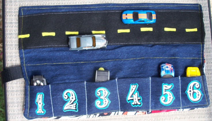 Fun HOTWHEELS  or Matchbox travel toy car caddy. Great toddler boy gift. FREE applique initial. $22.00, via Etsy.