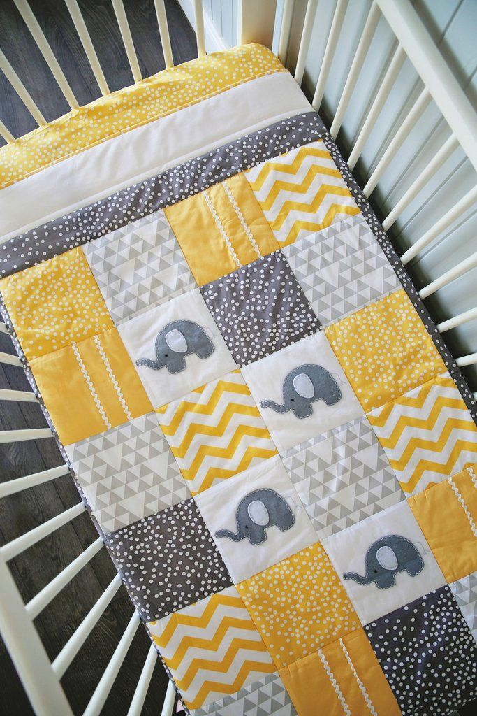 Elephant XL Patchwork Cot Quilt - Yellow #elephantnursery #patchworkquilt #elephantquilt #babyquilt #alphabetmonkey
