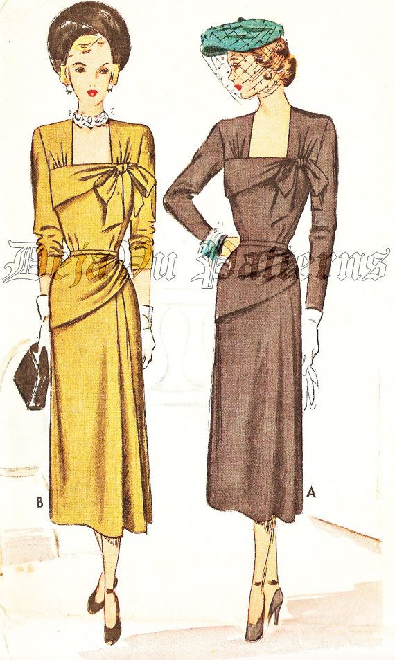 McCall 7371 Vintage 1940s Dress With Asymmetrical Draped Peplum Sewing Pattern