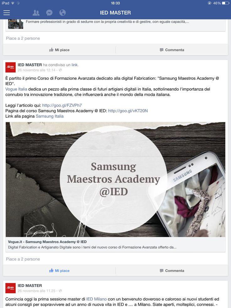 IED master #milano / Samsung Maestros Academy / digital fabrication / vogue Italia / artigiani digitali / innovazione / tradizione / moda