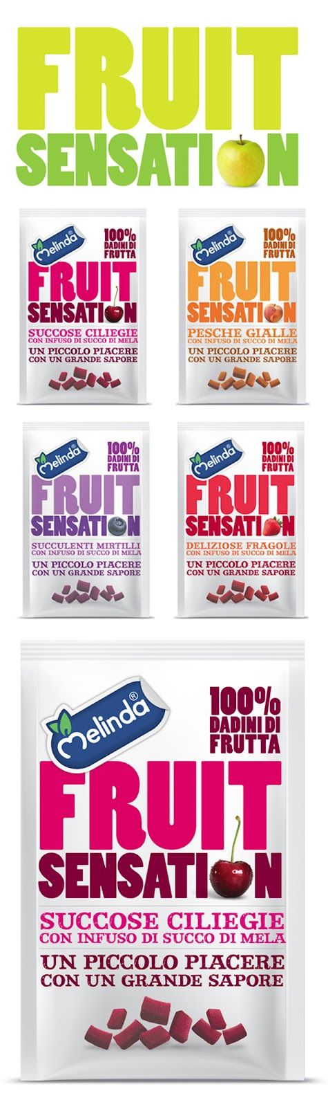 Melinda Fruit Snacks bold textual packaging