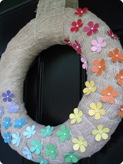 Spring Burlap Wreath {Tutorial} – Using Paint Chips :)