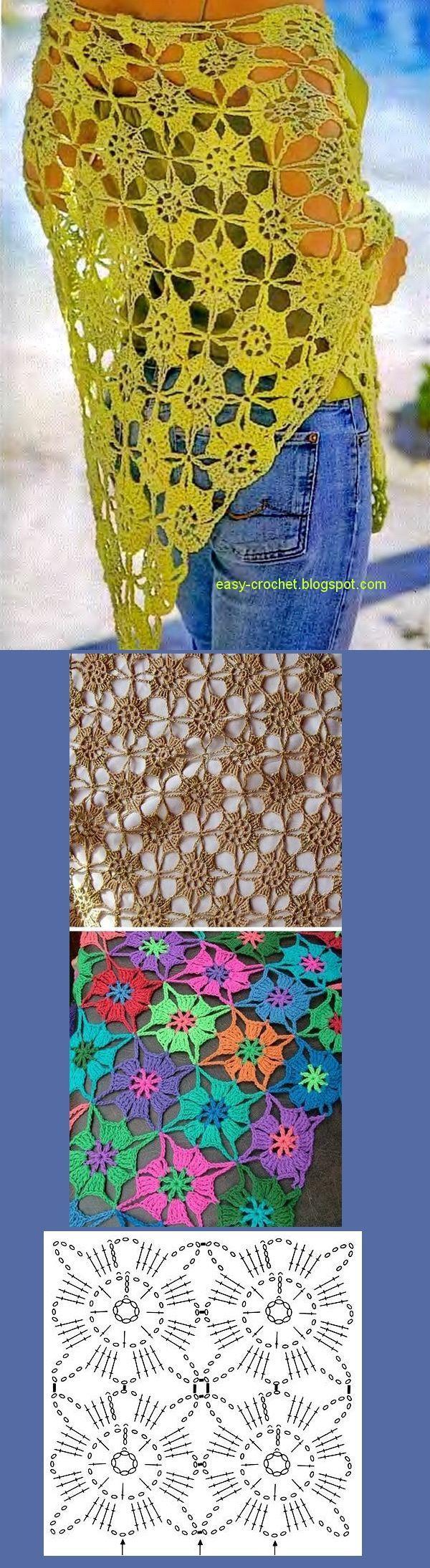 Stylish Crochet Fácil. Crochet Xale Padrão Grátis - Elegante E Fácil.