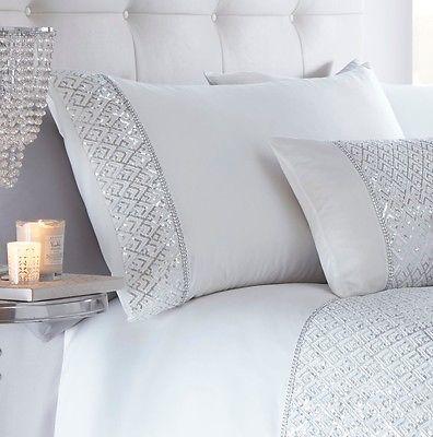 de lujo lentejuelas diamante cubierta del edredn edredn conjunto de ropa de cama ropa de cama brillo blanco nuevo