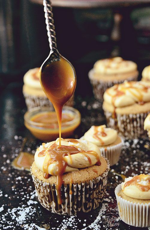 Caramel Cupcake recipe at TidyMom.net #caramel #cupcake