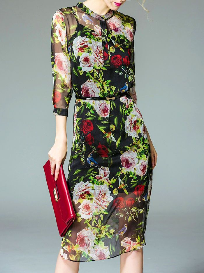 Floral-print Chiffon Midi Dress with Cami.....love the style