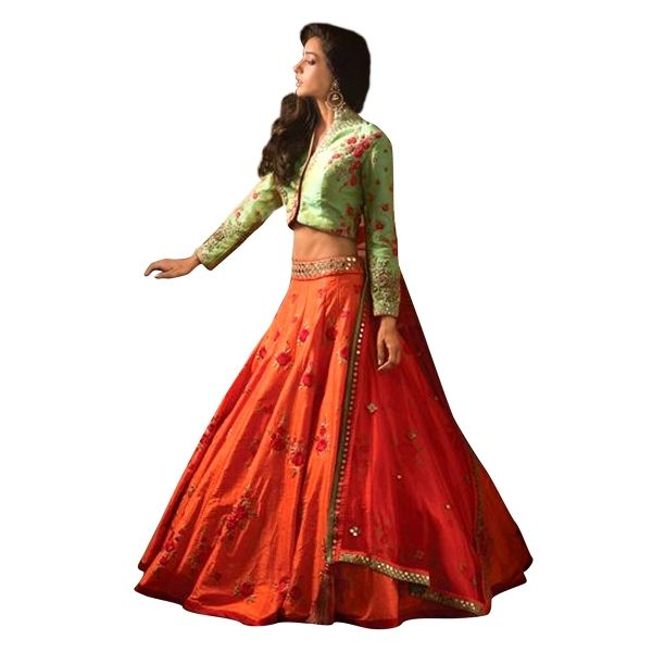 Buy Designer Orange & Green Banglori Silk With Embroidery Work Semi-Stitched Lehenga Online at cheap prices from Shopkio.com: India`s best online shoping site