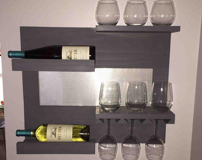 Wall Mounted Wine and Liquor Rack with Shelves, 2 Tier wine and Liquor Shelf