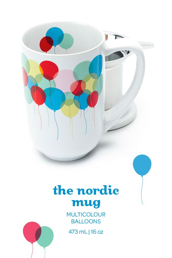 SUMMER 2014 - With cheerful balloons, this is a party in a mug. Includes lid and infuser.