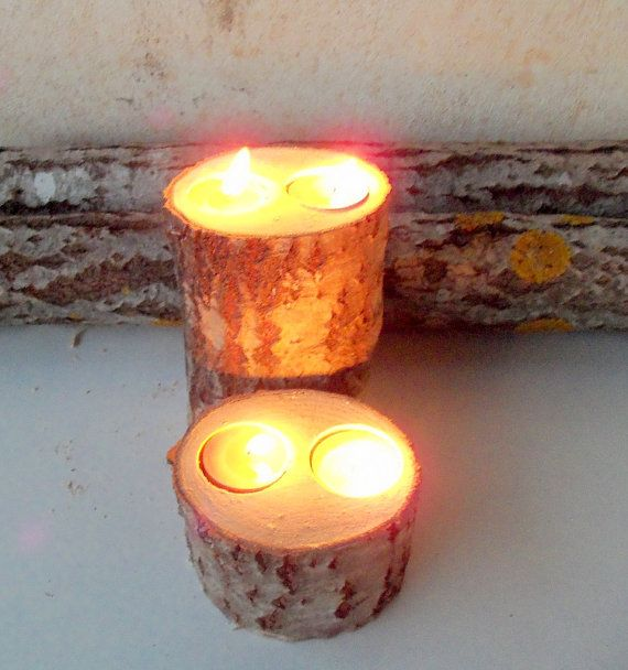 2 Wood Candle Holders  Table Centerpiece   by forestinspiration