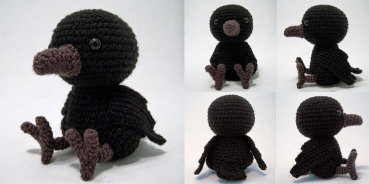 Amigurumi Raven - FREE Crochet Pattern / Tutorial  ╭⊰✿Teresa Restegui http://www.pinterest.com/teretegui/✿⊱╮