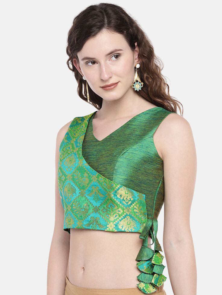 Buy JustB Green Padded Blouse With Ethnic Patola Brocade Overlap - Saree Blouse ... 7