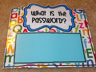 "To get out the door the child must read the ""password"" or word of the day. Can also use shapes and colors for younger children."