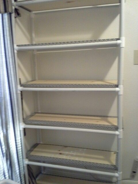 PVC Pipe storage shelves. I built this. Some projects do work out right