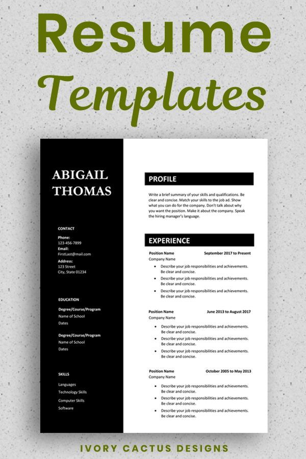 Professional Cv Template Resume Template Word One Page Resume