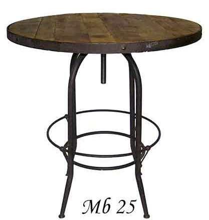 Аккуратный и стильный французский стол с железным основанием и деревянной столешницей.             Метки: Деревянные столы, Круглый стол.              Материал: Металл, Дерево.              Бренд: American Interiors.              Стили: Лофт.              Цвета: Коричневый.