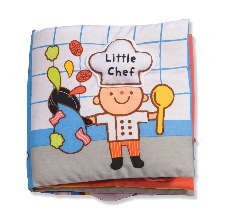 Soft Activity Book-Little Chef : Are you ready to make a sandwich, bake cookies, scoop ice cream, and decorate a cake? All the ingredients for a pretend-play feast are right inside this squeaking, crinkling, lift-the-flap cloth activity book! Melissa & Doug Ks Kids cloth books are durably constructed to last through story time, playtime, and the washing machine, too!