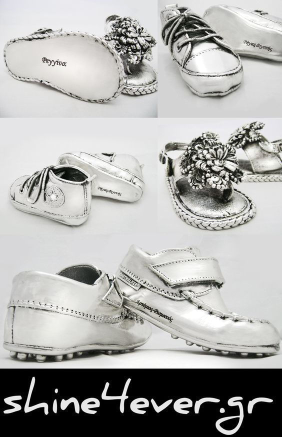 Shoes from our favorite triplets coated with 999° pure silver...by Shine4ever.gr