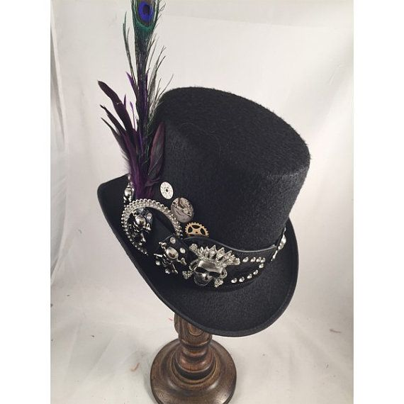 STEAMPUNK TOP HATS, Day of the Dead,  Steampunk Store, Black Top Hat, Skull Belt, Clock Parts, Peacock, Purple FeathersFeathers