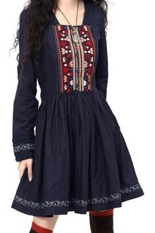 Long Sleeve Embroidered Pleated Dress