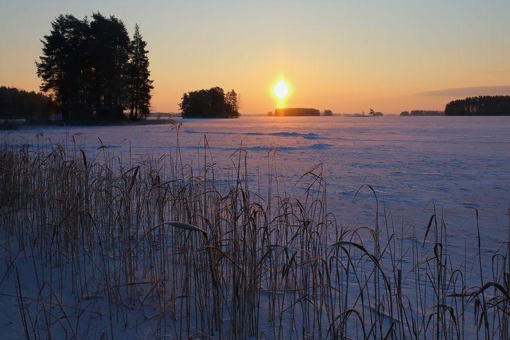 Winter sunset in Kuopio, eastern Finland