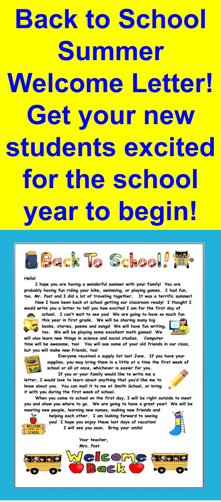 $ Summer Welcome Letter - This letter can be sent late in the summer to welcome your students to your classroom. It has graphics and text that can be altered, edited and re-sized to make it your own.