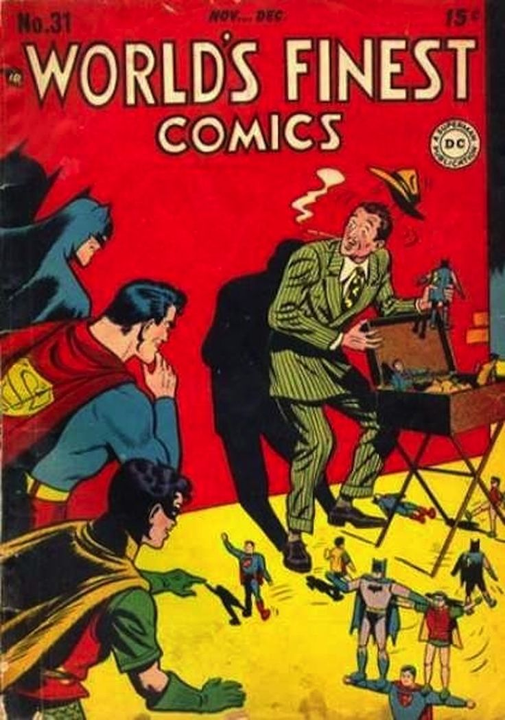 From 1941-1986, the superheroes appeared in their own comic book series, World's Finest Comics, and it was ridiculous.
