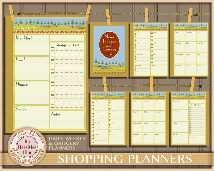 A5 Prim Meal Planner Inserts, Daily, Weekly and Grocery Shopping List Planner Printables. Instant Digital Download. by BoHeeMeeUhn on Etsy