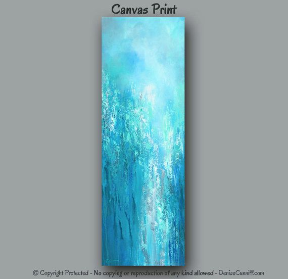 Tall Vertical Blue Wall Art Teal Turquoise Aqua Gray White Abstract Painting Canvas Print Girardot Pinterest Bedroom Decor Large